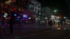 Bangla road, night phuket, time lapse Stock Footage