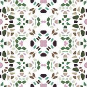 Kaleidoscope figure of greenish, pink, brown, turquoise and black stones - stock illustration