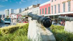 French Quarter Decatur Street View from Place de France Canons Stock Footage