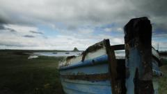 Motion Time Lapse, Boat On Beach, Lindisfarne, Northumberland Stock Footage