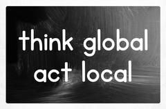 Think global act local concept Stock Photos
