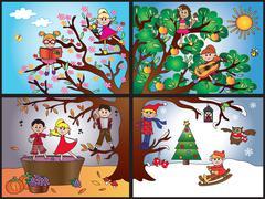 four season - stock illustration
