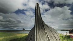 Motion Time Lapse, Boat Shed On Beach, Lindisfarne, Northumberland Stock Footage