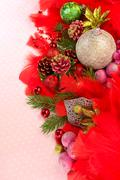 christmas balls with ornaments - stock photo