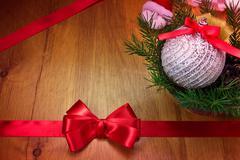 Christmas ball with fir branches Stock Photos