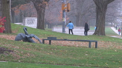 Cool cloudy fall day in Guelph Ontario Stock Footage
