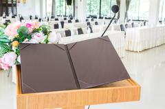 seminar presentation in business conference room - stock photo