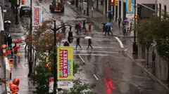 Empty Red Sightseeing Tourism Bus Tourist Tour Manhattan NYC Bad Weather Raining Stock Footage