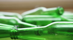 Bottles Green Recycling Laying Down Zoom - stock footage