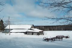 Vintage Northern Michigan Farm in Winter Stock Photos