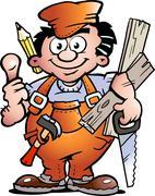 Hand-drawn vector illustration of an carpenter handyman Stock Illustration