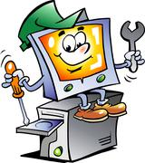 Hand-drawn vector illustration of an computer repairman Stock Illustration