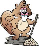 hand-drawn vector illustration of an rodent beaver - stock illustration