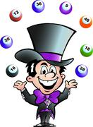 hand-drawn vector illustration of an juggling bingo man - stock illustration