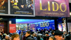 LIDO Night Club on Avenue Champs Elysees in Paris, France. Stock Footage