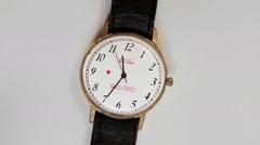 Soviet Quartz Wristwatch Souvenir of 1990 for Veterans in Honor of 45th Stock Footage