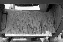 Eroded surface of the mill blades Stock Photos