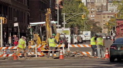 Stock Video Footage of Construction Workers Road Work Crew Digger Job Site Manhattan New York City NYC
