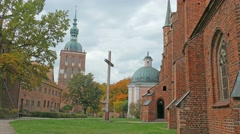 Frombork, Poland. Square next to cathedral and bell tower.  Stock Footage