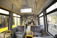 Inside of an electric train in berlin Stock Photos