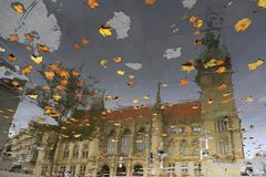 Braunschweig dom reflection on the pavement Stock Photos