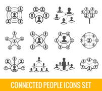 Connected people black icons set - stock illustration