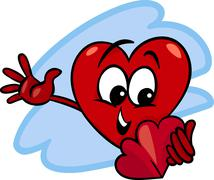 Heart with valentine card cartoon Stock Illustration