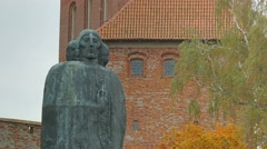 Monument of Nicolaus Copernicus. Closeup. Frombork, Poland. Full HD Stock Footage