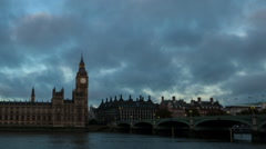 Houses of Parliament morning time lapse zoom out Stock Footage