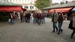 Munich Market Small Crowd Stock Footage