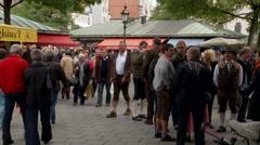 Munich Market Crowd Stock Footage