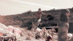 Slackline dream sequence Stock Footage