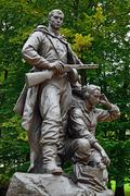 Memorial to warrior – scout. victory park, kaliningrad, russia Stock Photos