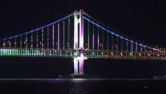 Gwangan Bridge Nighttime LED Light Show Busan South Korea Close Up 01 4K Stock Footage