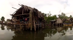 Warao House in Orinoco Delta Stock Footage