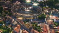 Pula Arena Croatia Aerial - stock footage