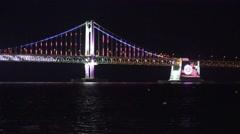 Gwangan Bridge Nighttime LED Light Show Busan South Korea Close Up 02 4K Stock Footage