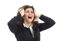 Bankrupt businesswoman crying desolated - stock photo