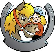 Hand-drawn vector illustration of an rider and horse Stock Illustration