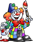 Hand-drawn vector illustration of an painting clown Stock Illustration