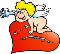 hand-drawn vector illustration of an amor angel boy looking for love - stock illustration