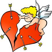 hand-drawn vector illustration of an angry amor angel boy - stock illustration