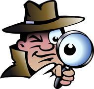 hand-drawn vector illustration of an inspector detective - stock illustration