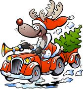 hand-drawn vector illustration of an reindeer driving car - stock illustration