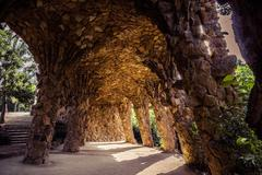 ancient aqueduct in the park Guell - stock photo