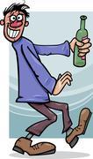 Stock Illustration of drunk guy with bottle cartoon illustration