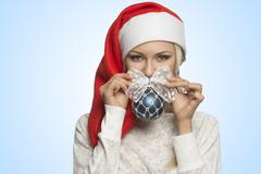 close-up portrait of happy xmas girl - stock photo