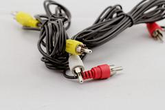 Three rca cable and plug Stock Photos