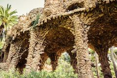 Ancient aqueduct in the park Guell Stock Photos