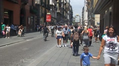 Street in historic center of Naples Stock Footage